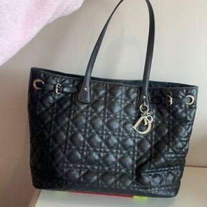 Christian Dior Black Cannage Large Shopping  Bag
